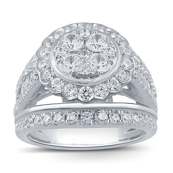 Womens 2 CT. T.W. Genuine Round White Diamond 10K Gold Engagement Ring