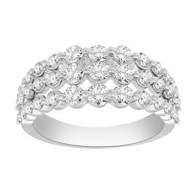 Womens 2MM 1 1/2 CT. T.W. Genuine White Diamond 10K Gold Wedding Band