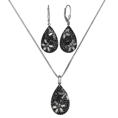Womens 3-pc. Black Crystal Sterling Silver Jewelry Set