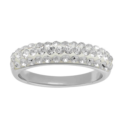 Womens 5mm White Crystal Sterling Silver Band