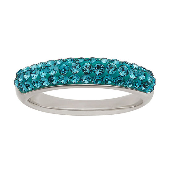 Womens 45mm Blue Crystal Sterling Silver Band