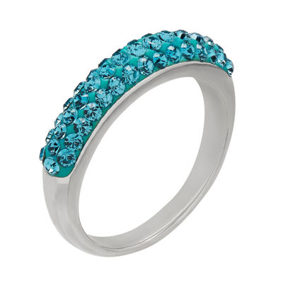Womens 4.5mm Blue Crystal Sterling Silver Band