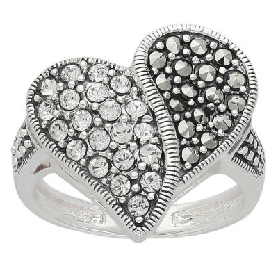 Womens White Crystal Sterling Silver Heart Cocktail Ring