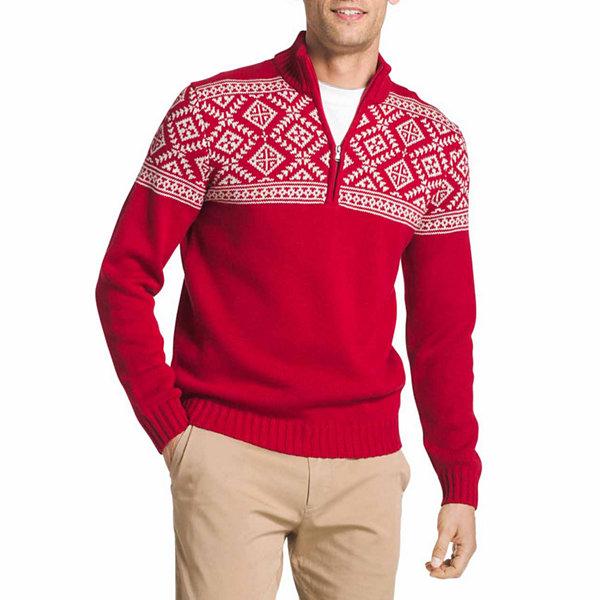 Izod Fairisle Quarter Zip Long Sleeve Sweater - JCPenney