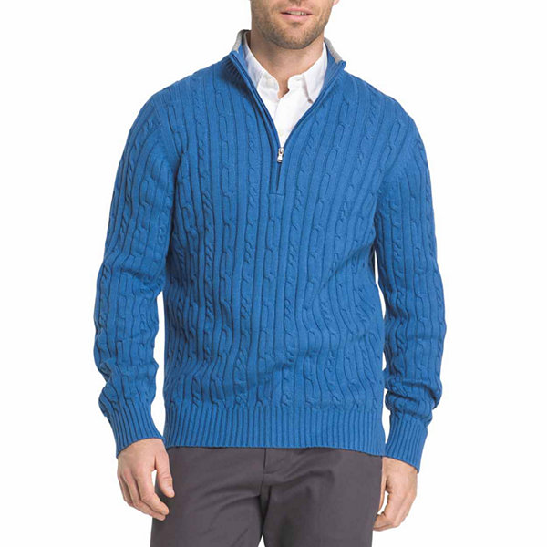 IZOD Fieldhouse Cable-Knit Quarter-Zip Sweater