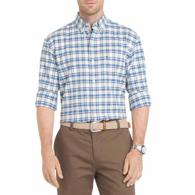 Izod long sleeve plaid button front shirt big and tall for Izod big and tall shirts
