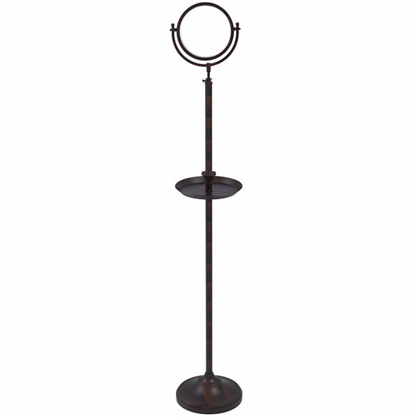 Allied Brass Floor Standing Make-Up Mirror 8 InchDiameter With 3X Magnification And Shaving Tray