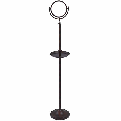 Allied Brass Floor Standing Make-Up Mirror 8 InchDiameter With 5X Magnification And Shaving Tray