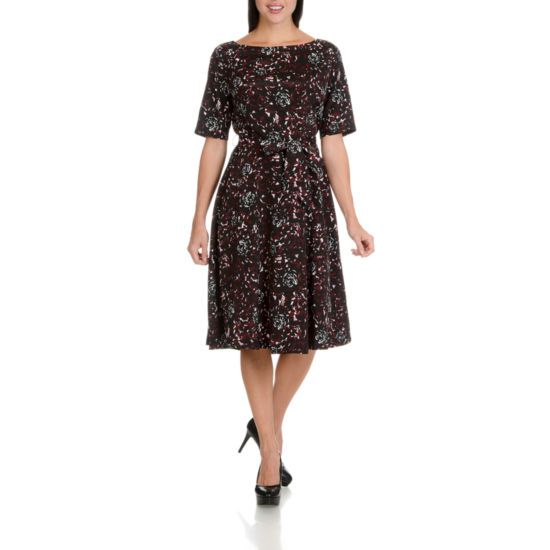 Larry Levine Half Sleeve Full Swing Dress