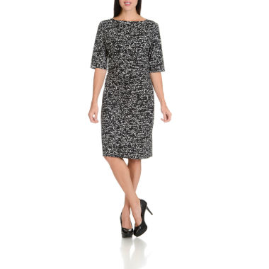 Larry Levine Shirred Waist 3/4 Sleeve Printed Knit Dress