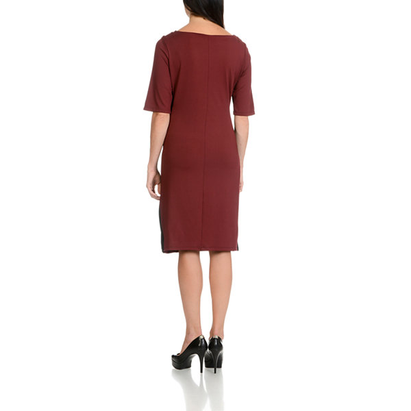 Larry Levine Side Shirred Half Sleeve Dress