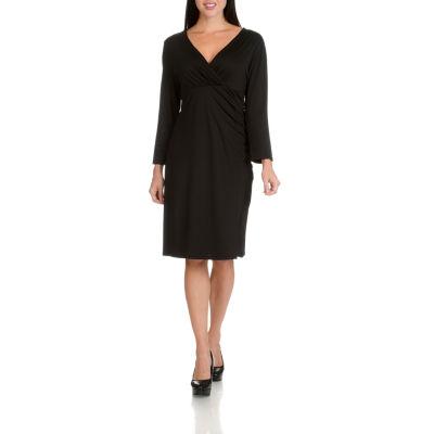 Larry Levine V-Neck Side Shirred 3/4 Sleeve Dress