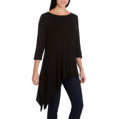 Larry Levine Short 3/4 Asymetrical Knit Top