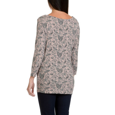 Larry Levine Printed Open Drape Neck 3/4 Sleeve Knit Top