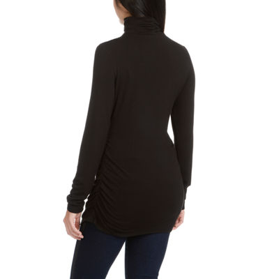 Larry Levine L/S Turtle Neck W/ Ruched Waist