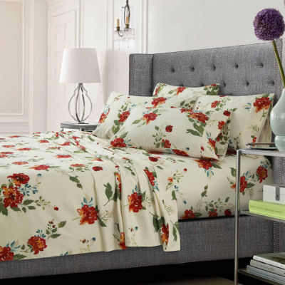 Floral Printed Ultra-Soft Extra Deep Pocket 4-Piece Sheet Set