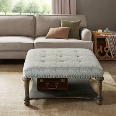 Madison Park Sadie Square Exposed Wood Cocktail Ottoman