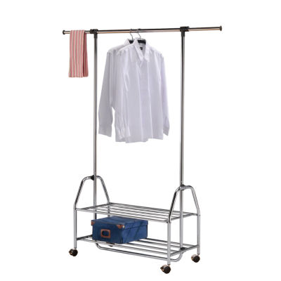 Mobile garment rack with chrome and extendable shelf