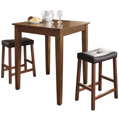 3-pc. Pub Dining Set With Tapered Leg and Upholstered Saddle Stools