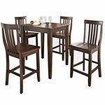 5-pc. Pub Dining Set With Tapered Leg and School House Stools