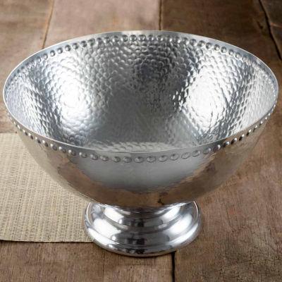 St. Croix Trading Kindwer Hammered Aluminum Pedestal Punchbowl