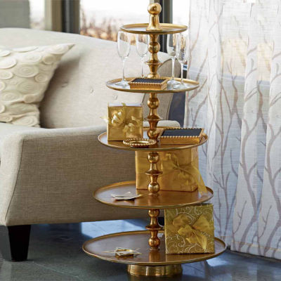 St. Croix Trading Kindwer Enormous 5-Tier Gilded Aluminum Stand End Table