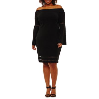 Bold Elements Long Sleeve Bodycon Dress-Plus