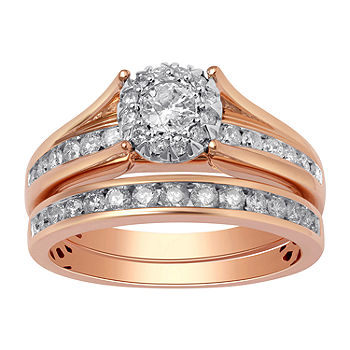 Womens 1 Ct T W Genuine White Diamond 14k Rose Gold Engagement Ring Jcpenney