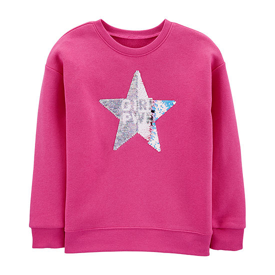 Oshkosh Girls Crew Neck Long Sleeve Sweatshirt Preschool / Big Kid
