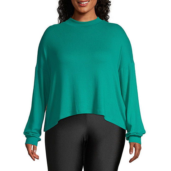 Flirtitude Womens Long Sleeve Mock neck-Juniors Plus