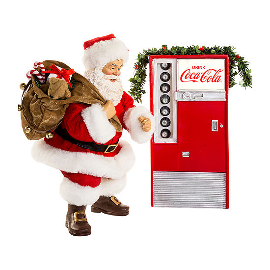 Kurt Adler Battery-Operated Santa With Coca-Cola® Machine 2-pc. Figurine