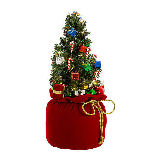 Kurt Adler 20-Inch Battery-Operated Polyester Led Gift Bag With Tree Tabletop Decor