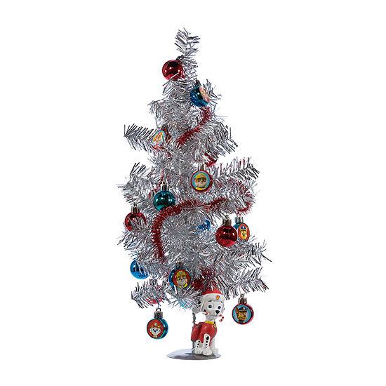 Kurt Adler 15-Inch Paw Patrol Mini Tree With Ornaments And Marshall Figure On Base Tabletop Decor