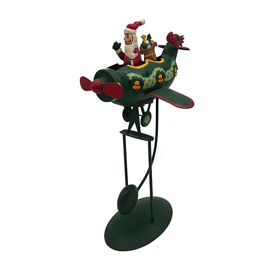 Kurt Adler 12-Inch Santa In Plane Pendulum Christmas Figurine