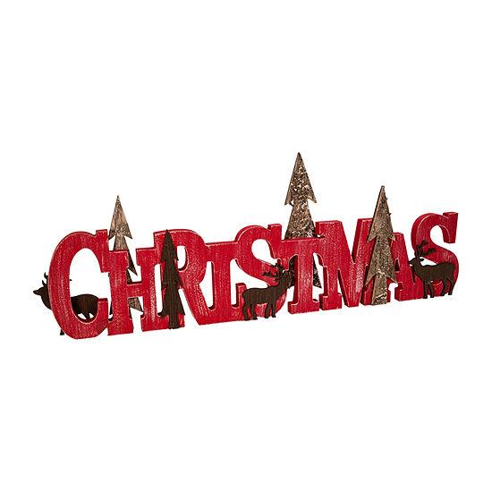 """Kurt Adler Wooden Red """"Christmas"""" Tabletop Decor"""