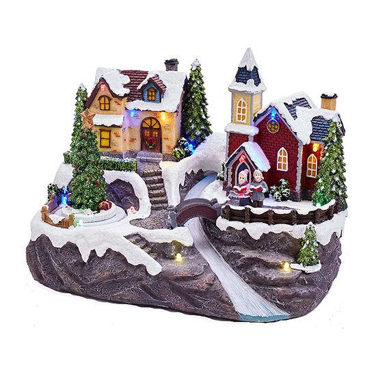 Kurt Adler Battery-Operated Christmas Led Village With Turning Tree Figurine