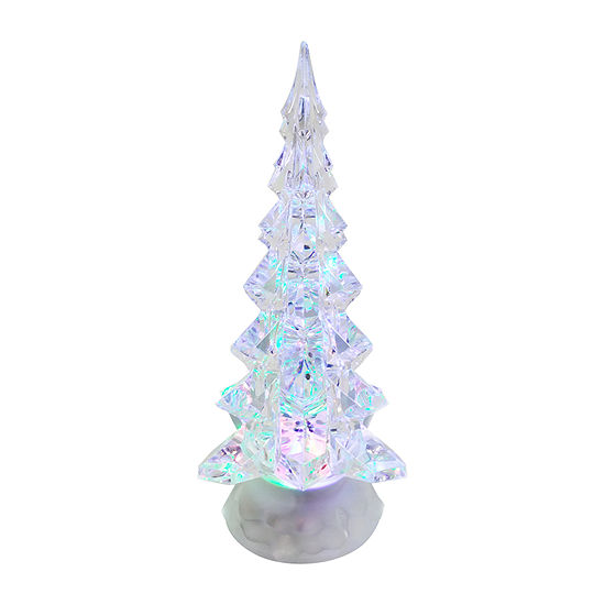 Kurt Adler 10.25-Inch Battery-Operated Led Clear Tree With Motion Tabletop Decor