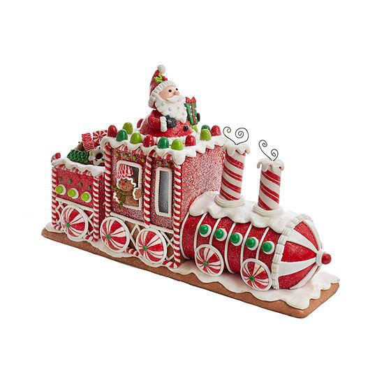 Kurt Adler 7.5-Inch Battery-Operated Gingerbread Junction Led Train Christmas Tabletop Decor