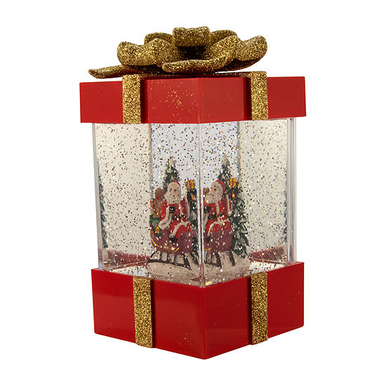 Kurt Adler 7.5-Inch Battery-Operated Santa And Sled Led In Water Gift Box With Motion Figurine