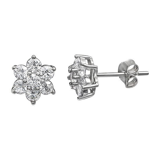 Silver Treasures Sterling Silver 7.5mm Flower Stud Earrings