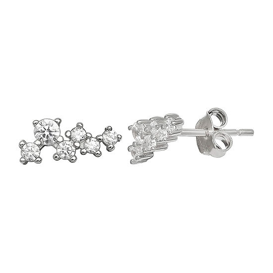 Silver Treasures Cubic Zirconia Sterling Silver 10mm Stud Earrings