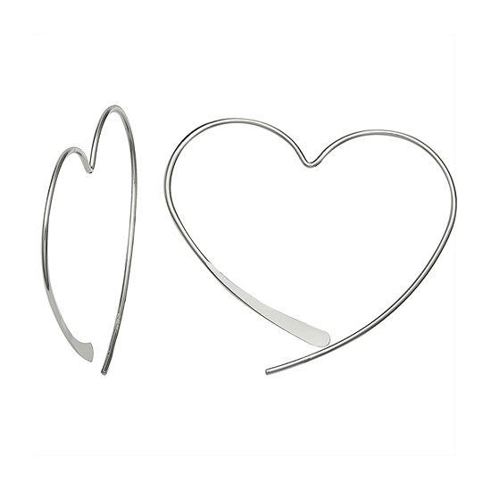 Silver Treasures Sterling Silver Heart Drop Earrings