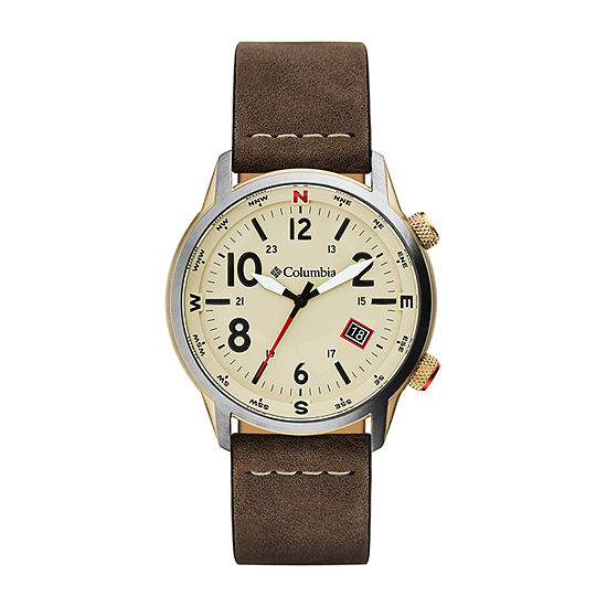 Columbia Sportswear Co. Mens Brown Leather Strap Watch-Csc01-002