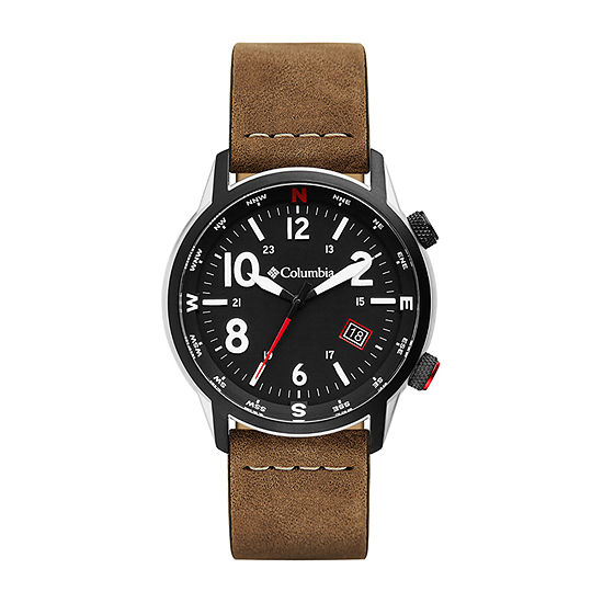 Columbia Sportswear Co. Mens Brown Leather Strap Watch-Csc01-003