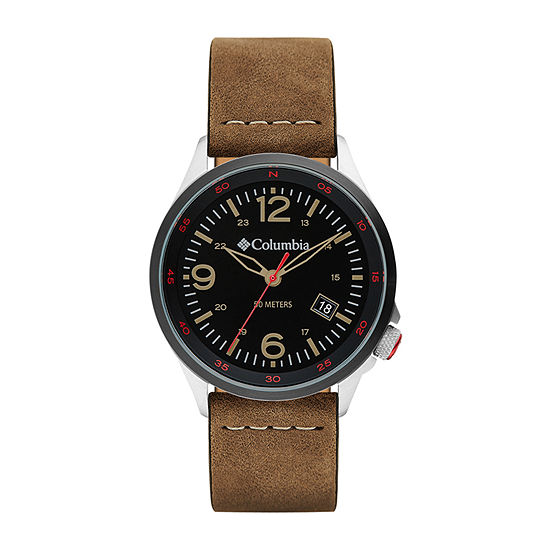 Columbia Sportswear Co. Unisex Adult Brown Leather Strap Watch-Csc02-001
