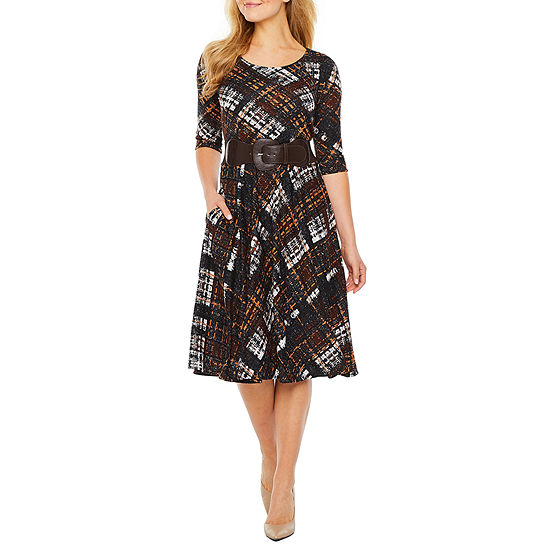 Rabbit Rabbit Rabbit Design 3/4 Sleeve Plaid Midi Fit & Flare Dress