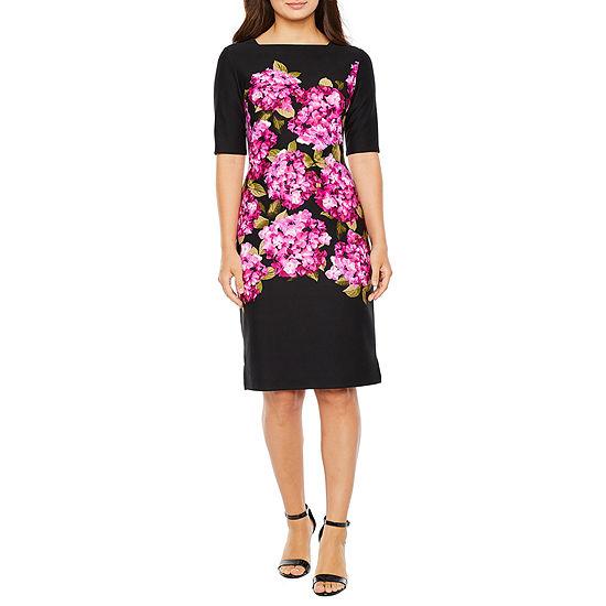 Danny & Nicole Short Sleeve Floral Midi Sheath Dress