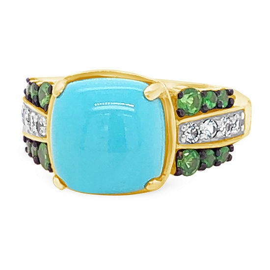 Le Vian Grand Sample Sale™ Ring featuring Robins Egg Blue Turquoise™ Forest Green Tsavorite™ White Sapphire set in 14K Honey Gold™