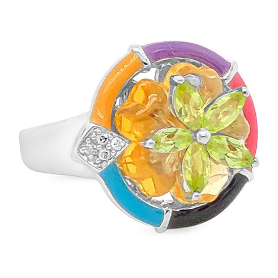 Le Vian Grand Sample Sale™ Ring featuring Cinnamon Citrine® Green Apple Peridot™ Vanilla Diamonds® set in 14K Vanilla Gold®