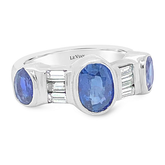LIMITED QUANTITIES! Le Vian Grand Sample Sale™ Ring featuring Cornflower Ceylon Sapphire™ Vanilla Diamonds® set in 14K Vanilla Gold®